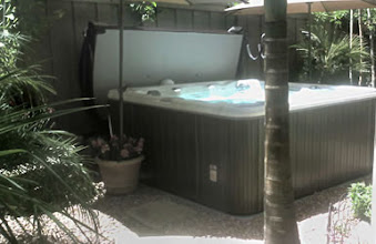 Photo: I leveled the ground, had the electrician run the electric, we placed the pad down and surrounded it with a yard of gravel in 4 hours. The Spa was delivered, filled and we were in it the same day. Thanks again.  J.V. Carlsbad, CA
