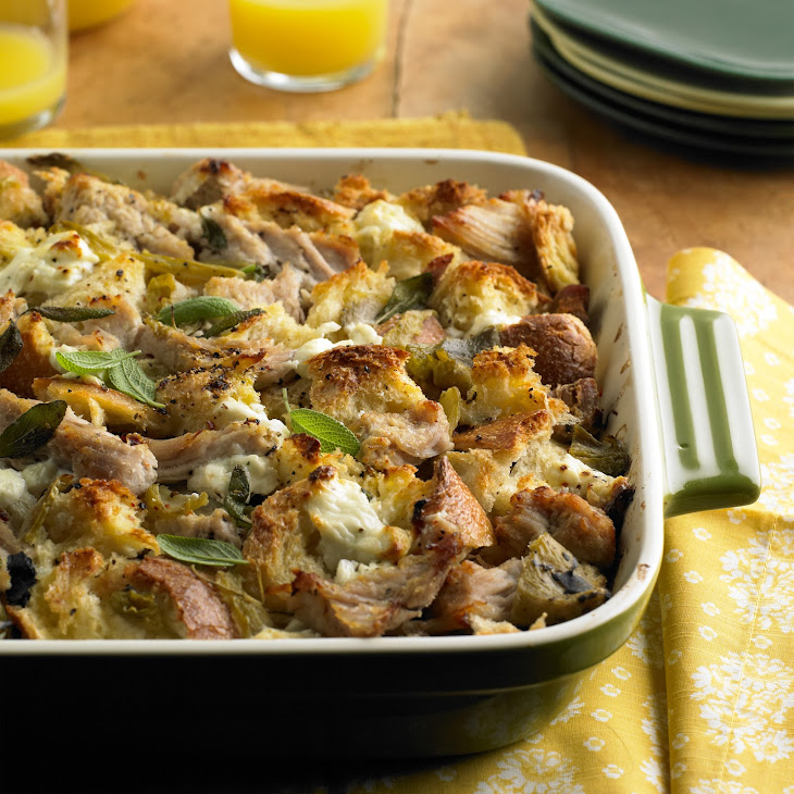 Pork Roast Strata with Green Chiles and Goat Cheese Recipe