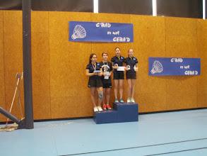 Photo: Double Dames Cadets 1ères Mei-LMi Heldt/Suzanne Hey (CEBA) 2es Marine Feruzi/Lara Moritz-Petit (CEBA)