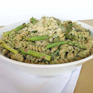 Fusilli with Creamy Arugula Pasta and Roasted Vegetables