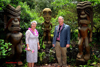 Photo: Rhon & Brendan joined ancient Hawaiian deities Kū, Kanaloa and Lono for this picture....
