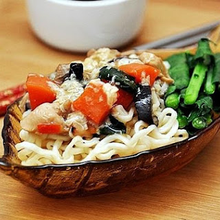 Noodles With Chicken Eggy Sauce.