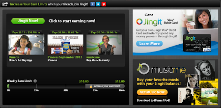Photo: Here are my options - two videos and the Elmer's 1st Day App. Also, special offers are displayed in the right-hand side panes.  Click the green Jingit Now! button to get started 'Jinging It'.