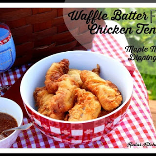 WAFFLE BATTER FRIED CHICKEN TENDERS WITH MAPLE MUSTARD DIPPING SAUCE
