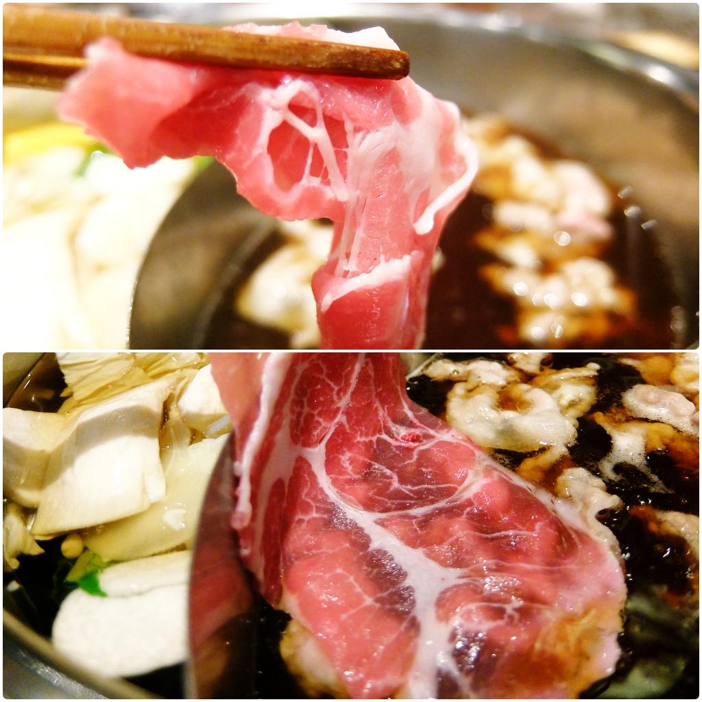 肉不厚,是還沒薄到透光,但一盤放進去煮,大概全撈起來才有感覺到吃肉啊