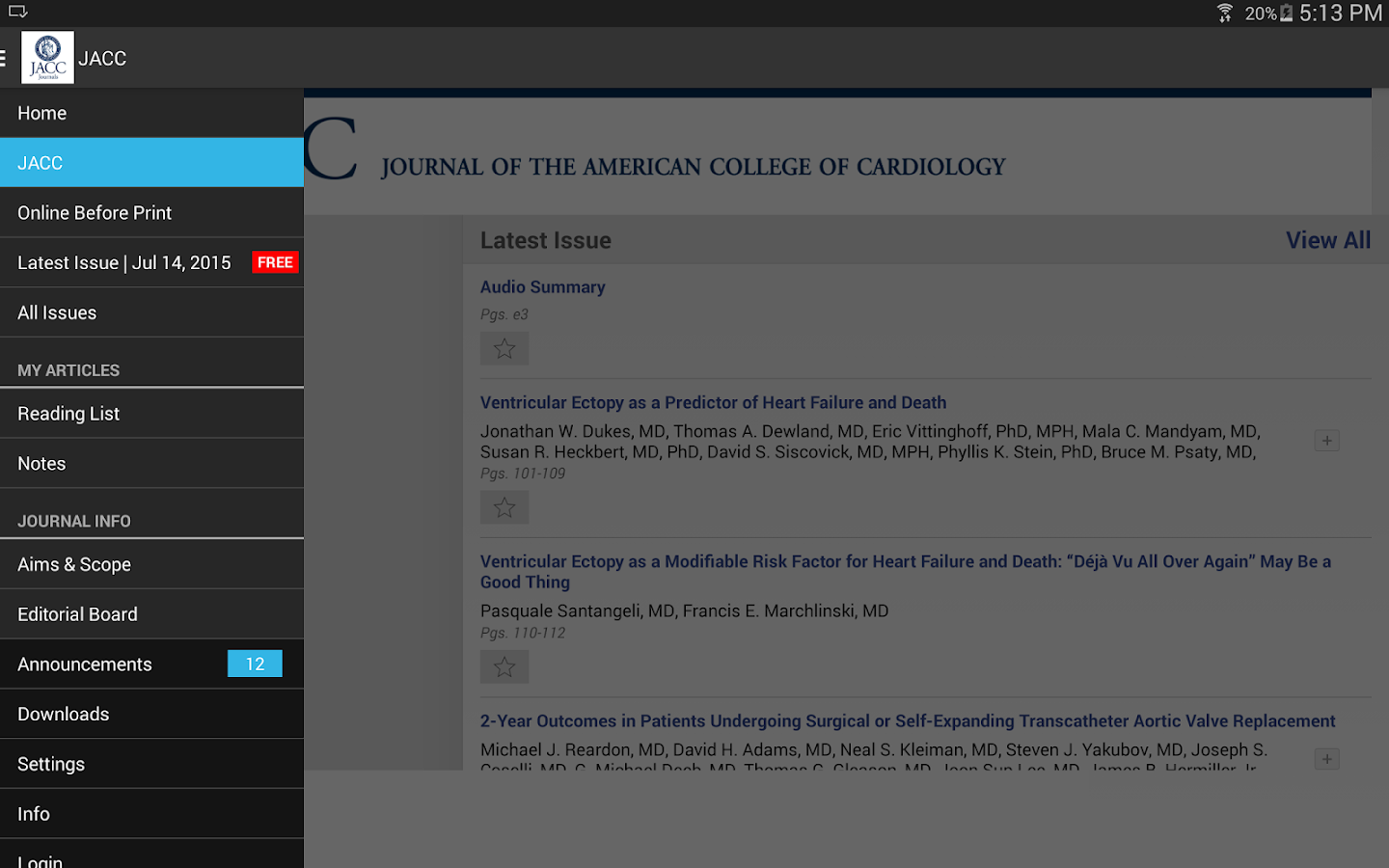 JACC Journals- screenshot