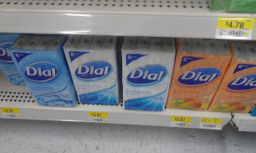 """Photo: These 8-packs of Dial bar soap are an amazing deal at $3.97. There are a few scents to choose from, but I don't want to get too """"fancy"""" with my donations. I know what it's like to be allergic to scents, especially when it comes to soaps."""
