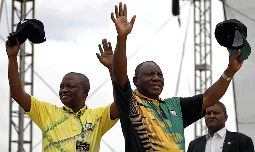 Higher office: ANC deputy president David Mabuza and SA's new president, Cyril Ramaphosa, wave to supporters ahead of the ANC's 106th anniversary celebrations in East London in January. Picture: REUTERS
