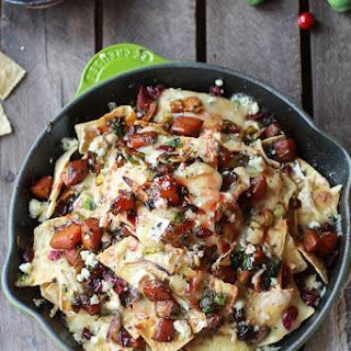 Cranberry, Butternut and Brussels Sprout Brie Skillet Nachos.