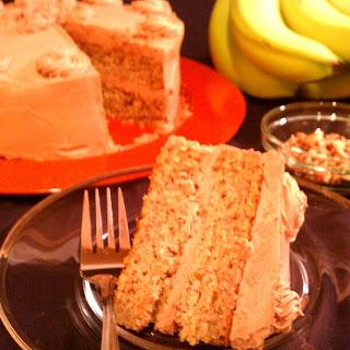 Banana Pecan Cake with Cocoa Hazelnut Buttercream Icing