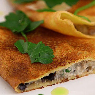 Chickpea Pancakes with Mushroom and Ricotta Filling Recipe
