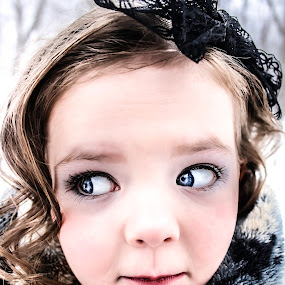 Did you hear that? by Vanessa Meyers - Babies & Children Child Portraits ( expression, winter, cold, blue eyes, odd,  )
