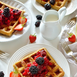 Cinnamon Waffles With Apple And Blackberry Compote.