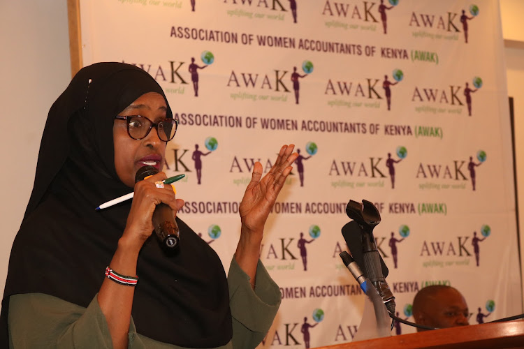 Nominated Senator Farhiya Haji at the 5th ladies Leadership and Accountability Conference at a hotel in Mombasa on Wednesday/ PILI CHIMERAH