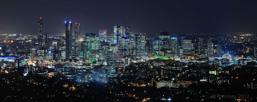 Brisbane-skyline-landscape - The night skyline of Brisbane's central business district as seen from Mount Coot-tha.
