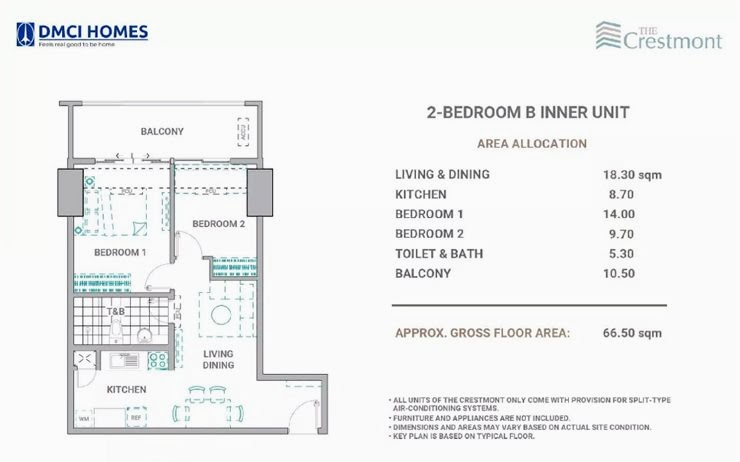 The Cresmont, Panay Avenue, Quezon City 2 Bedroom B unit plan