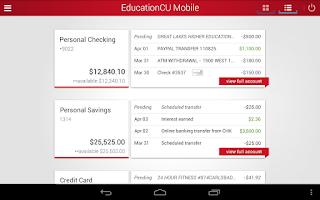 Screenshot of EducationCU Mobile