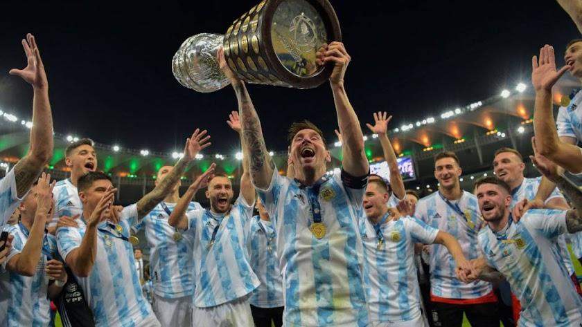 Argentina celebrando la Copa América.