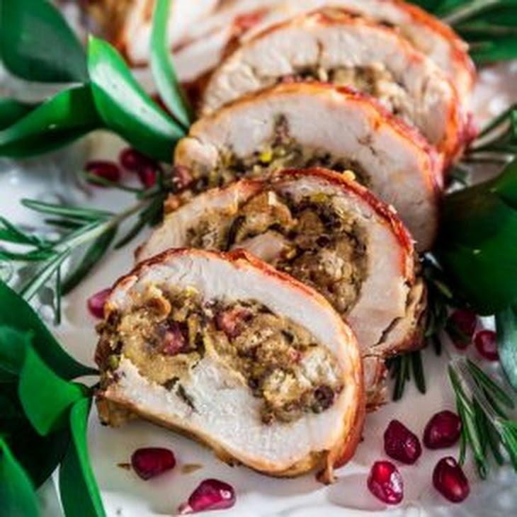 Prosciutto Wrapped Turkey Roulade with Pomegranate-Port Reduction Sauce Recipe