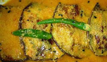 Eggplant in mustard and tomato sauce