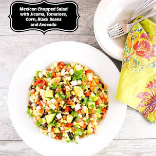 Mexican Chopped Salad with Jicama, Tomatoes, Black Beans and Avocado.
