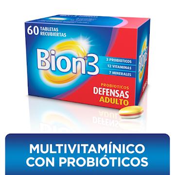 Bion3 Defensas Suplemento con Vitaminas, Minerales y Probióticos x 60 tab recubiertas