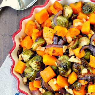 Roasted Brussels Sprouts and Butternut Squash.