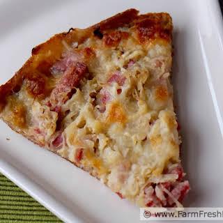 Sauerkraut and Summer Sausage Pizza.
