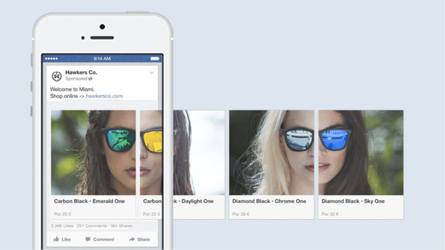 facebook ad carousel set up