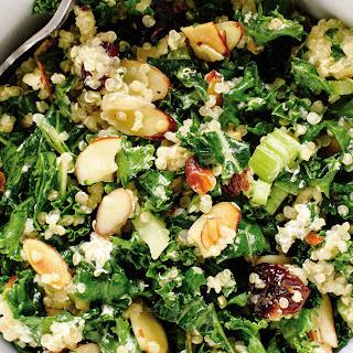 Kale and Quinoa Salad with Crisp Celery, Plumped Cranberries, and Lemon Dressing.