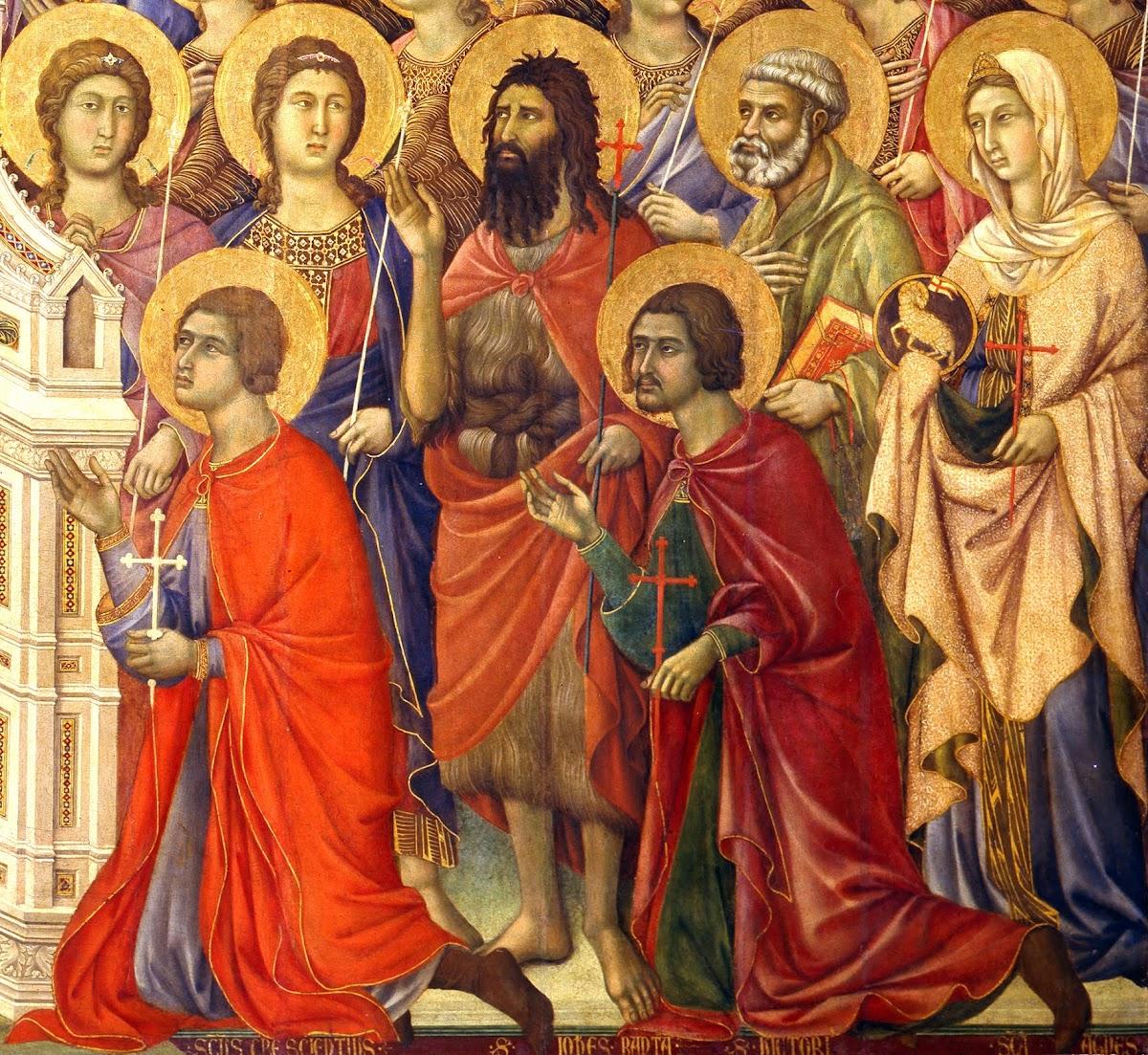 Duccio di Boninsegna, Maestà del Duomo di Siena (1308-1311), particolare della tavola principale - genoflessi (da sinistra): San Crescenzio e San Vittore, Patroni di Siena - in piedi (da sinistra): San Giovanni Battista, San Pietro e Sant'Agnese