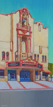 "Photo: ""El Campanil, Rivertown"", acrylic on canvs, 24"" x 12"" by Nancy Roberts, © 2016"