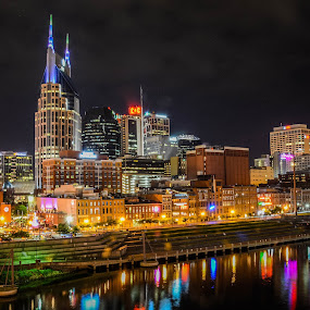 Nashville Cityscape by Darrin Ralph - Buildings & Architecture Office Buildings & Hotels ( lights, reflection, nashville, cityscape, nightscape, river )