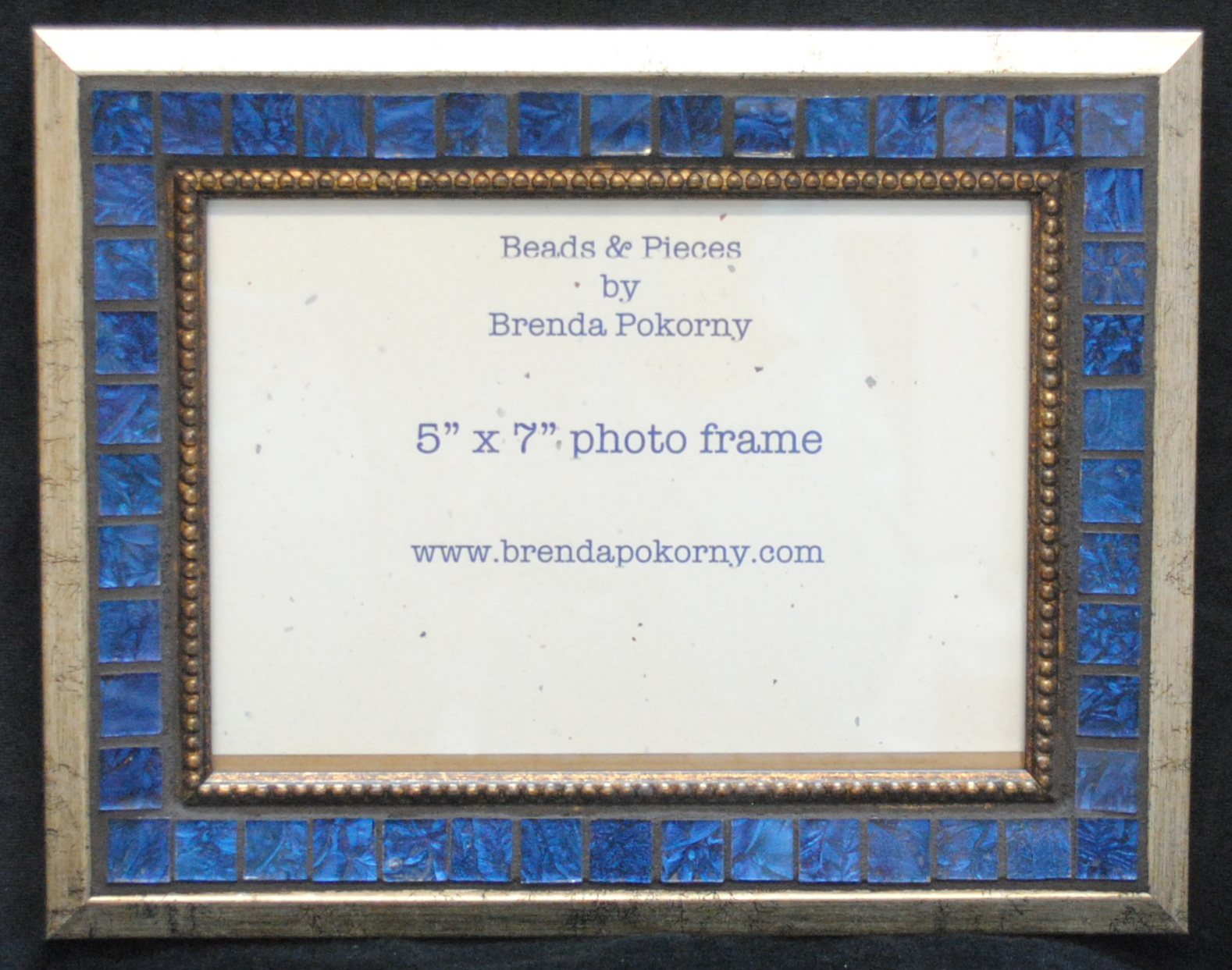 "MOF1462 5"" x 7"" Regal Blue and Gold Mosaic Photo Frame"