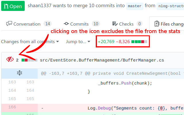 Exclude files from Diff Stats on Github