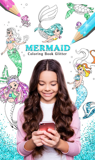 PC u7528 Mermaid Coloring Book Glitter 1