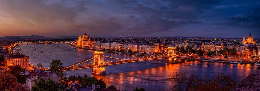 Budapest Panorama by Luis Silva - City,  Street & Park  Skylines ( tripod, golden hour, sunset, panoramic, budapest, long exposure, hungary )