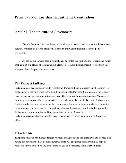 Principality of Lustitiaene/Lustitaine Constitution