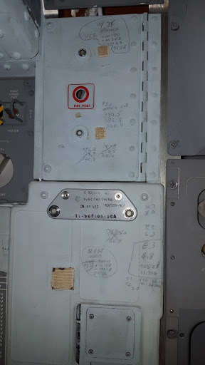 Markings inside the Apollo 11 Command Module