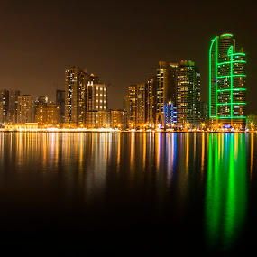 Beautiful City - Sharjah by Ricky Pagador - City,  Street & Park  Night ( cityscapes, cityscape )