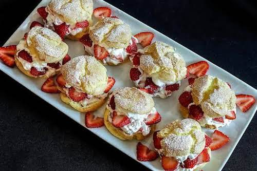 """Strawberry Cream Puffs""""As an apprentice chef, I prepared these for a local..."""