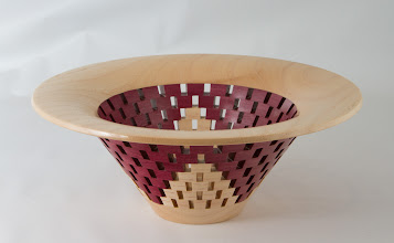 "Photo: Bob Grudberg 9"" x 4"" open segmented bowl [pecan, purple heart]"