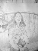 Photo: dessin préparatoire fait sur la toile à peindre (détail) - Versailes, au bassin du Trianon
