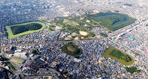 Las tumbas Kofun de Osaka vistos desde las alturas