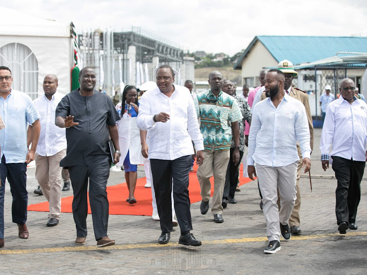 President Uhuru Kenyatta arrives at the Kipevu Oil Terminal, Port of Mombasa, to preside over the flag off ceremony of the first Kenyan crude oil shipment as well as receive the 3rd cohort of Seafarer recruits August 26, 2019.