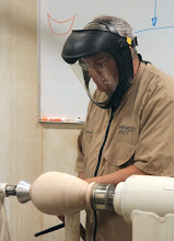 Photo: Dale mounted a vessel to show various tool procedures for cutting and scraping to produce a very smooth surface.