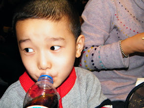 Photo: baby son, warrenzh 朱楚甲, drank cola during toast buffet in a spring weekends when his parents enjoying gathering in their divorce.