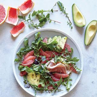 Grapefruit, Avocado, and Prosciutto Breakfast Salad.