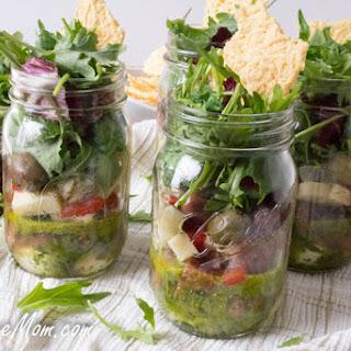 Individual Mason Jar Anitpasto Kale Salad with Basil Vinaigrette