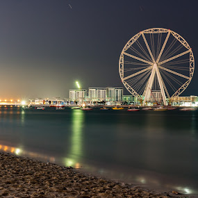Ain Dubai / Eye Of Dubai by Ansari Joshi - Landscapes Beaches ( night photography, colors, dubai eye, ain dubai, skylines, long exposure, dubai marina, cityscape, beach, nightscape, ferris wheel,  )